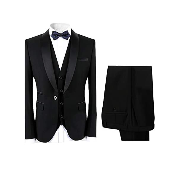 Boyland Men's 3 Pieces Suit Shawl Lapel Tuxedo Suits Shawl Lapel One Button Tux Jacket Vest Trousers Dinner Wedding