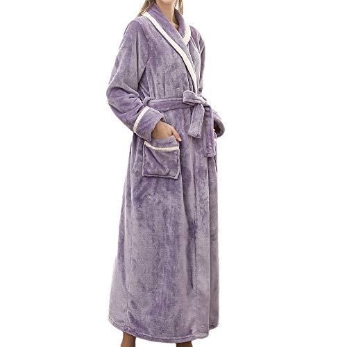 VOYOAO Womens Plush Robes Dressing Gown Soft Full Length Kimono Bathrobe (Large/XL-Large,Purple)