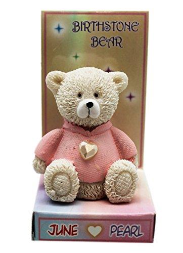Birthstone Bear June Birth Month Faux Pearl Bear Figure