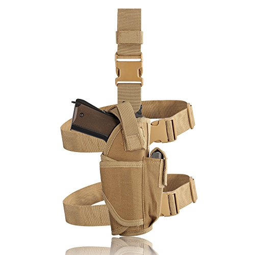 Evermacro Adjustable Tactical Army Drop Leg Holster for Pistol Gun Drop Puttee Thigh Holder (Tan) (Cz 75b Best Price)