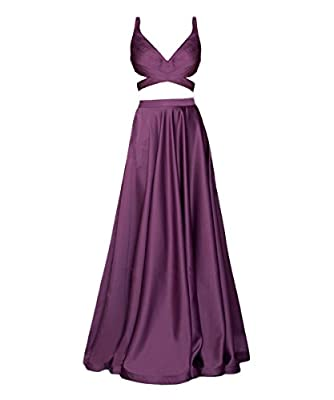 Lisa Sexy Satin Two Piece Prom Dresses For Juniors Formal Evening Gowns LS029