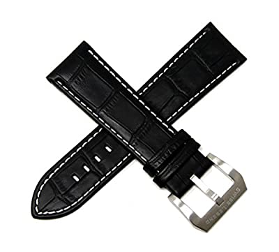 Swiss Legend 24MM Black Alligator Grain Leather Watch Strap, Silver Buckle fits 42mm Executive Watch from Swiss Legend
