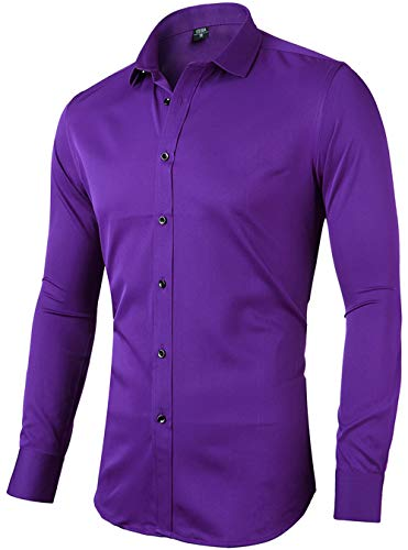 FLY HAWK Mens Fiber Casual Button Up Slim Fit Collared Formal Shirts, Purple Button Down Shirt, 15.5