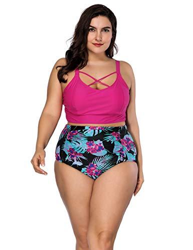 GINVELL Womens Swimsuits 2PCS Plus Size High Waist Strappy Bikini Set Hot Pink (Out From Under Ruched High Waist Bikini Bottom)