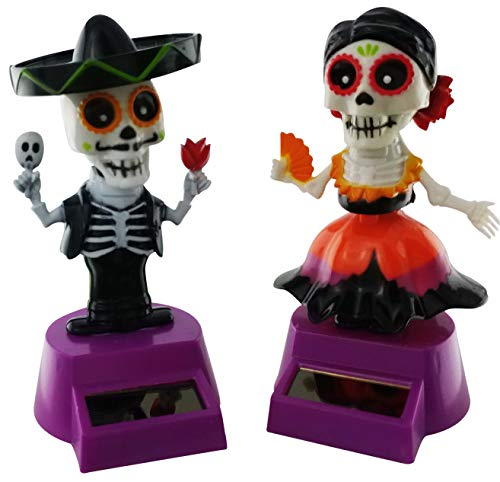 Midwood Brothers Halloween Solar Powered Dancing Toys - Sugar Skull Skeleton Day of The Dead Mail and Female Bobble Head Party Dancers (Set of 2) (Dancing Skeleton Toy)