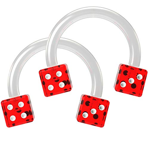 2pc 16g Cute Dice Circular Barbell Piercing Horseshoe Septum Cartilage Tragus Flexible Red 8mm