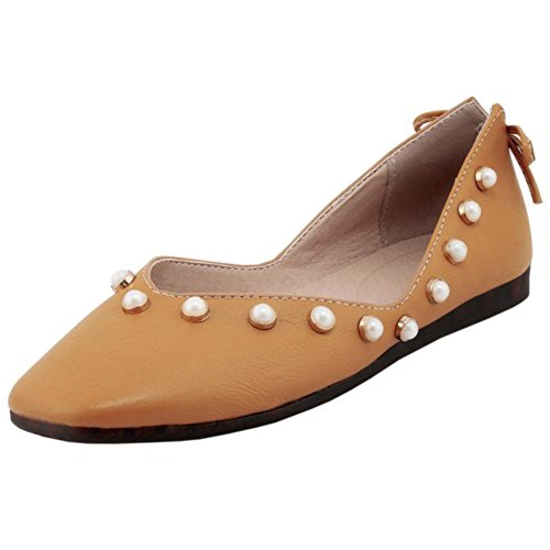 Size Casual Flat Low Asian 33 Women's Ballet Pearl TAOFFEN Court Top Shoes Yellow RqFvZZxn