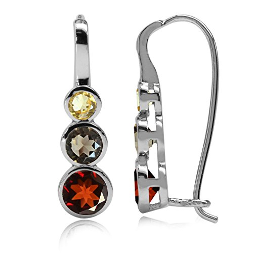 (Natural Garnet, Smoky Quartz & Citrine White Gold Plated 925 Sterling Silver Hook Earrings)