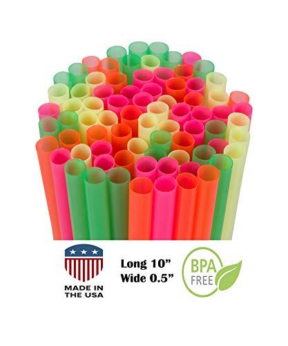 Boba, Bubble Tea, Smoothie, Milkshake, Tapioca Straws: [Extra Wide, Extra Long] Made in USA, BPA Free (Assorted Neon, 10