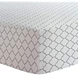 """Kushies Changing Pad Cover for 1"""" pad, 100% breathable cotton, Made in Canada, White Grey/Ornament"""