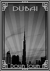 Photo Of Dubai Skyline Down Town - Black And White With Silver Border, Mounted (a4)