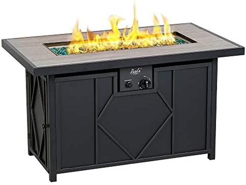 BALI OUTDOORS Gas Fire Pit, 42 Inch 60,000 Btu Rectangular Outdoor Propane Fire Pits Table Black