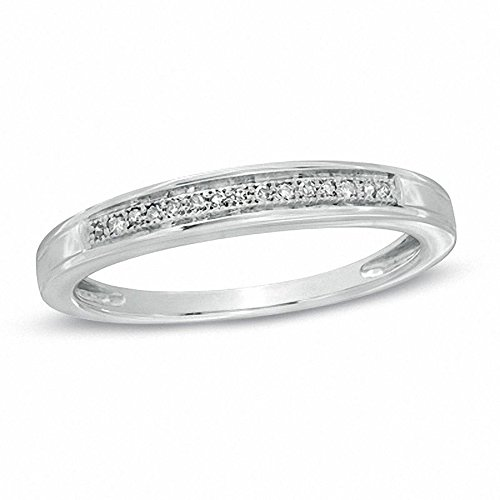Silvercz Jewels 0.1 Cts Simulated Ladie's Diamond Accent Wedding Band Ring 14K White Gold Over by Silvercz Jewels