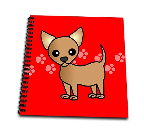 (3dRose db_12073_2 Cute Tan Chihuahua Red Pawprint Background-Memory Book, 12 by 12-Inch )
