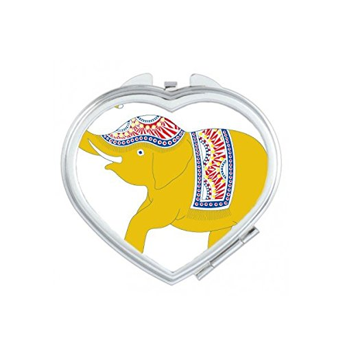 Kingdom of Thailand Thai Traditional Customs Culture Made in Thailand Yellow Elephant Shield Art Illustration Heart Compact Makeup Pocket Mirror Portable Cute Small Hand Mirrors by DIYthinker