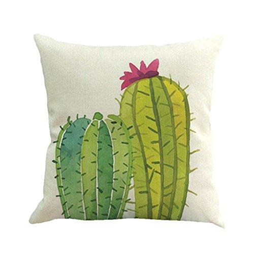 Price comparison product image Hattfart Cactus Print Decorative Throw Pillow Covers, 18 x 18 inch Cotton Linen Cushion Covers (D)