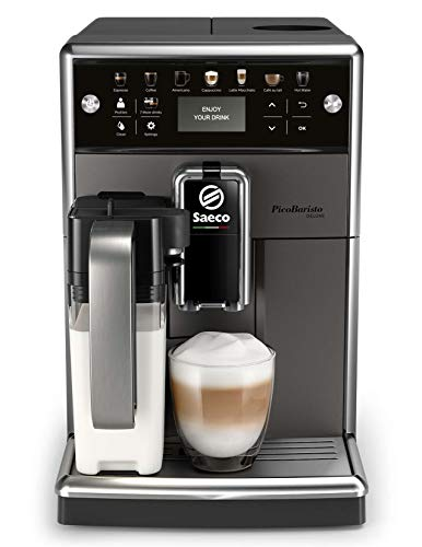 Grinder Coffee Deluxe Automatic - Saeco super-automatic espresso coffee machine with an adjustable grinder, milk frother, maker for brewing espresso, cappuccino, latte, macchiato. PicoBaristo Deluxe SM5572/10