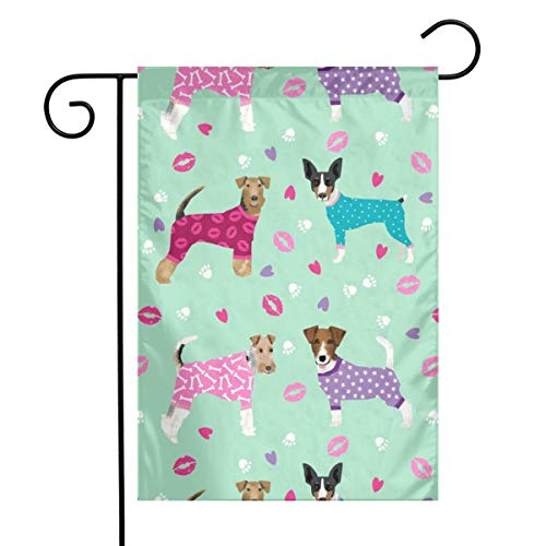 fudin Terriers in Pyjamas Fabric Dogs in Clothes Cute Rat Terrier,Jack Russell Terrier, Welsh Terrier, Wire Fox Terrier Garden Flag 12 X 18 Inches,Polyester House Banner for Indoor Outdoor Home Decor
