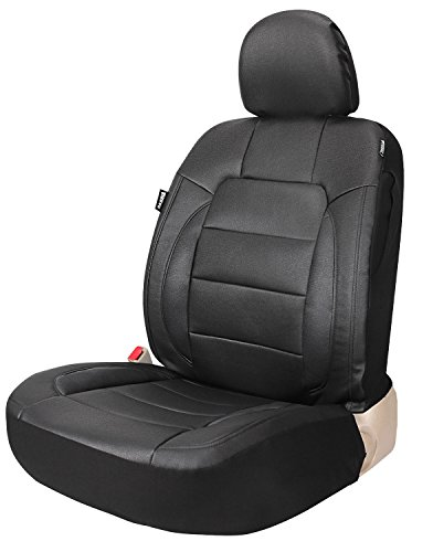 Leader Accessories Platinum Vinyl Auto Faux Leather Black One Car Seat Cover for HighBack/Low Back Front Seat with Airbag Back - Air Seat Front Bags