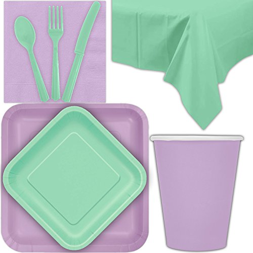 Disposable Party Supplies for 28 Guests - Lavender and Mint - Square Dinner Plates, Square Dessert Plates, Cups, Lunch Napkins, Cutlery, and Tablecloths: Premium Quality Tableware Set
