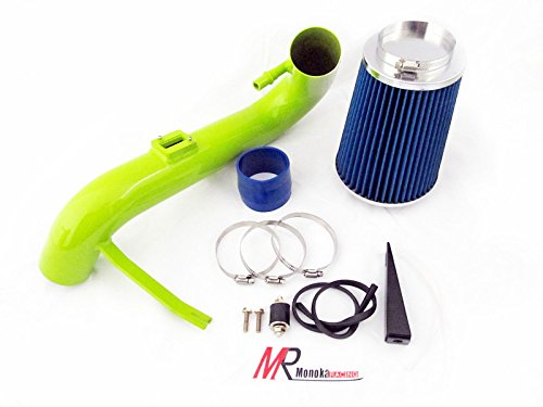 05 06 07 08 09 Ford Mustang 4.0L V6 Green Piping Cold Air Intake System Kit with Blue Filter by Monoka Racing