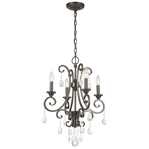 Oil Rubbed Bronze 4-light Crystal Small Chandelier, Timeless Classic Small Crystal Chandelier