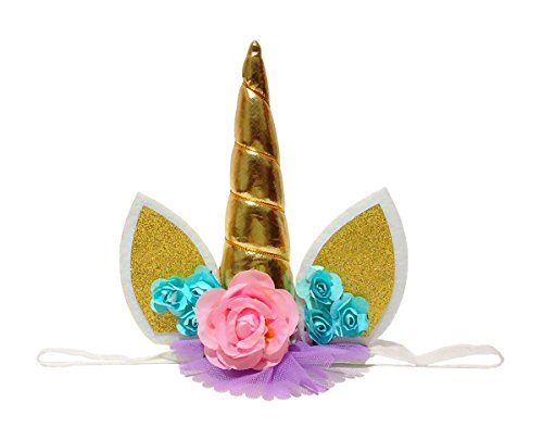 E&L Unicorn Horn with Flower Dressing Headband Birthday Decoration, for Birthday Cake Decoration, 1st Birthday Girl Decorations, Fancy Dress Girl Party Decoration (Gold)