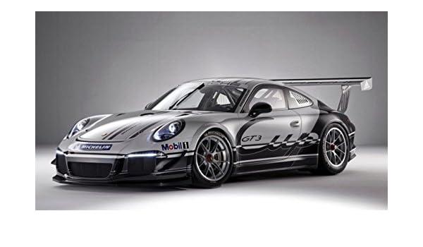 Clásico y músculo anuncios de coche y COCHE arte Porsche 911 GT3 coche Póster en 10 mil papel de archivo frontal de plata Vista lateral, papel, Silver Front ...