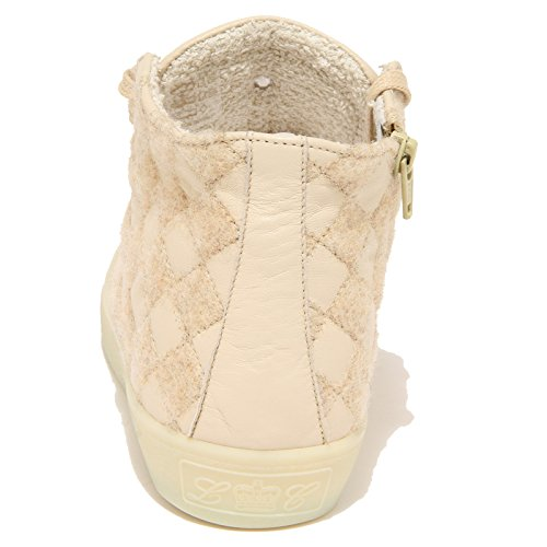 Crown Chiaro Donna Women Scarpe beige 7724N Shoes Beige Leather Sneaker SZHAqq