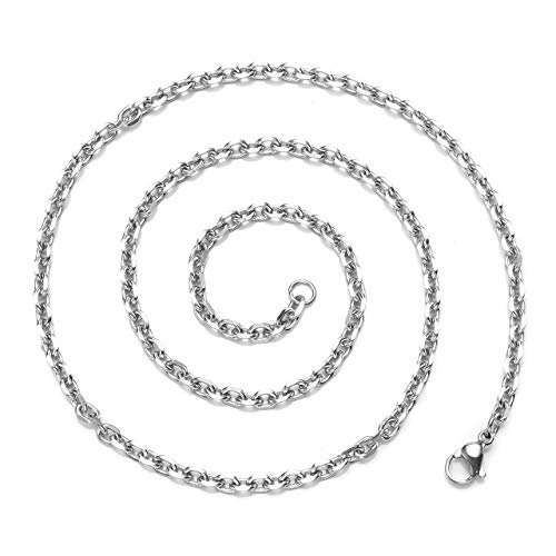 Zysta 3mm Sturdy Nickel Free Stainless Steel 18 inch Lobster Clasp Trace Chain Necklace Women Men Neck Rope Cable Link Replacement Charms Pendant