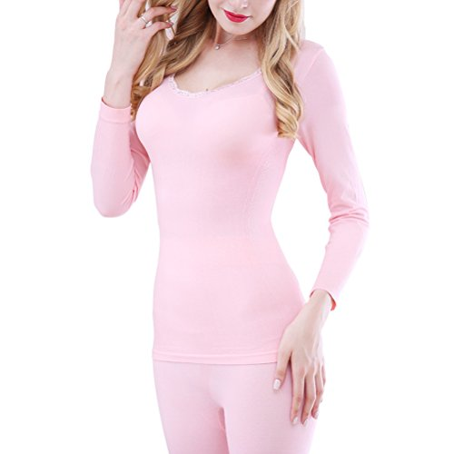 Zhhlaixing mujeres Winter Thin Round Neck Thermal Underwear Set Slim Body-shaped Long Sleeve Pajamas Pink