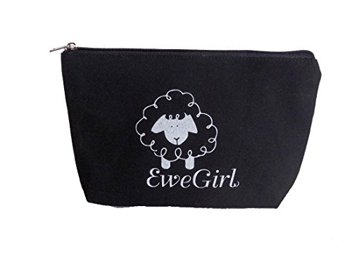 EweGirl by della Q Zipper Knitting Case for Notions (5 in. H x 7.75 in. W x 2 in. D); 100 Black EG-2012-100 by della Q