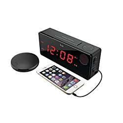 iLuv TimeShaker Boom, Alarm Clock with Wireless Rechargeable Bed Shaker, Built-In Alert Light, Panic Sound Adjuster, 1.4 Jumbo LED, and USB Charging Port (Black)