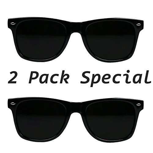 f59d9fea1d Amazon.com  ShadyVEU - Super Dark Lens Retro Vintage Inspired 80s Spring  Hinge 80 s Sunglasses (2-Pack 1 Glossy   1 Soft Black