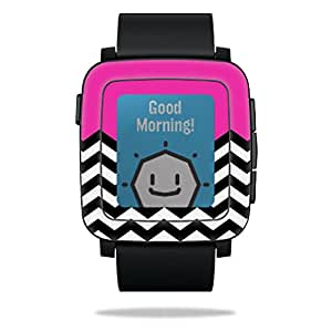 MightySkins Protective Vinyl Skin Decal for Pebble Time Smart Watch cover wrap sticker skins Hot Pink Chevron