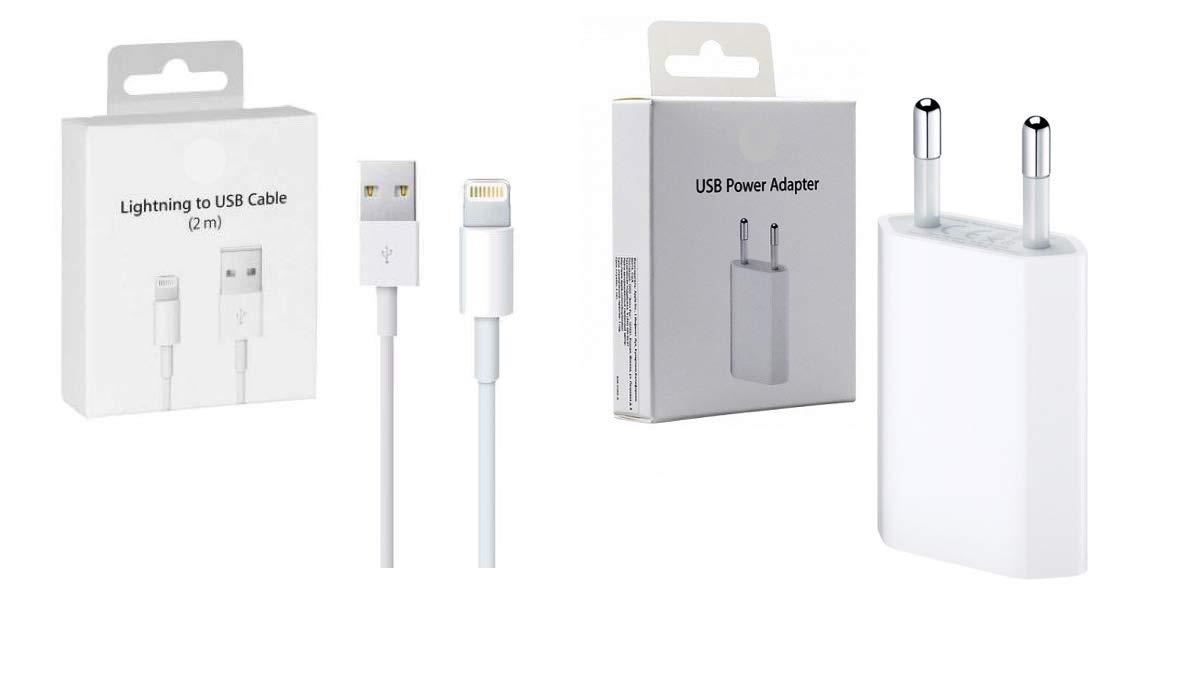 SMARTEAM SRL Kit Ricarica Cavo Ricarica X iPhone 5 6 7 8 x md818 Spina Adattatore USB md813