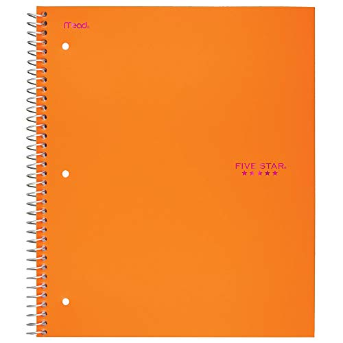 Five Star Spiral Notebook, 1 Subject, Wide Ruled Paper, 100 Sheets, 10-1/2