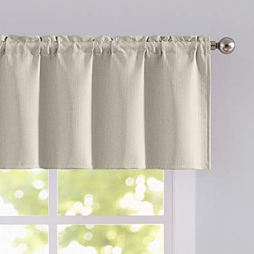 - Valance Curtains for Living Room Linen Texture Look Ivory Top Window Vlances for Bedroom Rod Pocket 52