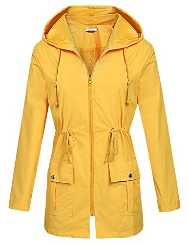 BEAUTEINE Waterproof Lightweight Rain Jacket Active Outdoor Hooded Raincoat for Women Yellow X-Large