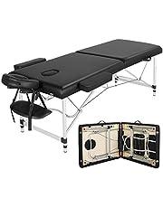 Yaheetech massage-ligstoel, aluminium massagetafel, inklapbaar, massagebed, massagestoel met 2 zones, in hoogte verstelbaar, met draagtas, belastbaar tot 250 kg, zwart, ca. 213 x 92 x 67 – 87,5 cm.