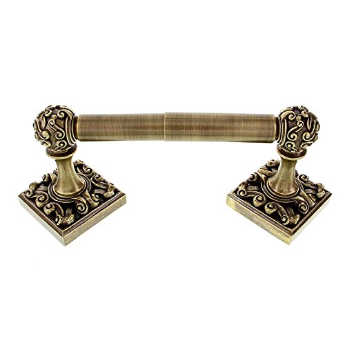 Vicenza Designs TP9001 Sforza Spring Toilet Paper Holder, Antique Brass (Antique Toilet Pewter Tissue Holder)