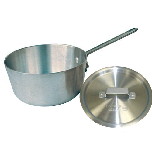 Winco ASP-4, 4-1/4 Quarts 9'' x 4-1/2'' Aluminum Sauce Pan with Handle and Matching Cover, Commercial Grade Stewpan with Lid, Saucepan with Metal Handle
