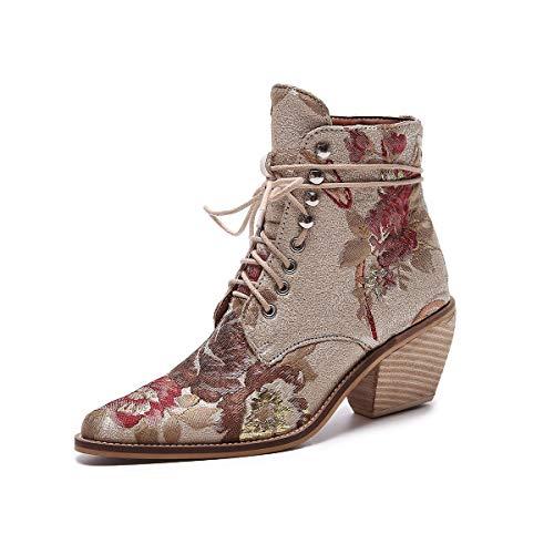 Lacets De Bottes La Mode Les Brodé Bout Left Pointu Hauts Main Chaussures À Talons Cheville amp;right Block Chelsea Beige Femmes z0qqaRZwxp