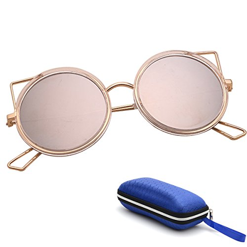 Wonpurs Fashionable Cute Cat Eye Sunglasses Circle Frame with Cat Ear - Glasses Circle Cute