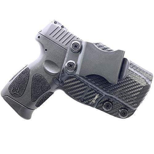 WHOLEGUNS IWB Kydex Holster, fits Taurus Millennium G2C Inside Waist Band Concealed Carry, Adjustable Cant/Retention - Made in USA (Carbon Fiber)