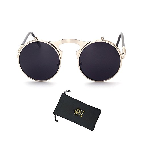 Red Peony Retro Vintage Round Flip up Sunglasses Steampunk Sunglasses for Men and Women (Silver, - Up Flip Sunglasses