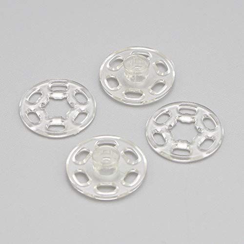 20Sets Clear Invisible Nylon Snap Fasteners Press Button Stud (Clear, 10mm)
