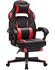 SONGMICS Gaming chair, bureaustoel met voetsteun, bureaustoel met hoofdsteun en lendenkussen, in hoogte verstelbaar, ergonomisch, 90-135° kantelhoek