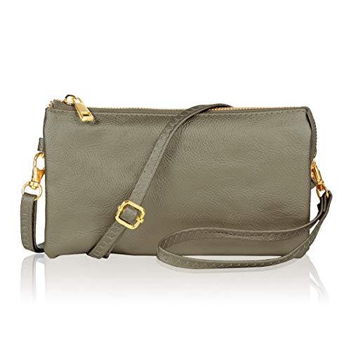 - Convertible Vegan Leather Wallet Purse Clutch - Small Handbag Phone/Card Slots & Detachable Wristlet/Shoulder/Crossbody Strap (Pebbled - Pewter)