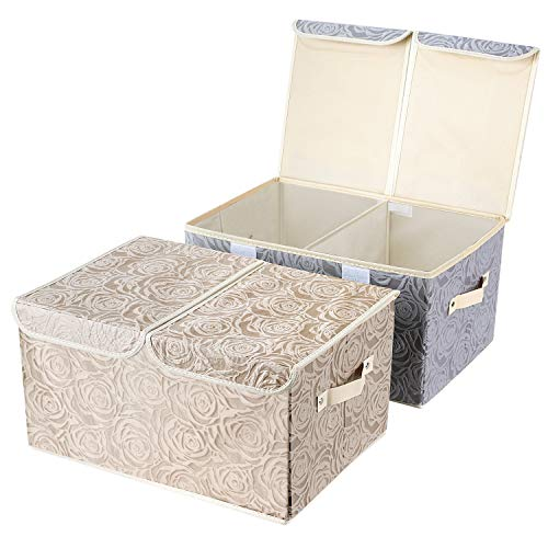 2 Pack Drawer Organization, Large Linen 2 Sections Washable Storage with Lids and Handles, Foldable Closet Organizer for Nursery, Closet ,Clothes, Toy, Home, Office, Bedroom, Grey+Khaki(18 x 9.8